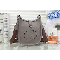 Hermes Trending Women Shopping Bag Leather H Letter Shoulder Bag Crossbody Satchel Grey