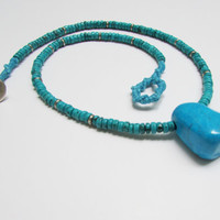 Turquoise Stone Necklace, Beadwork Ethnic Geode Urban Natural Gemstones Jewelry
