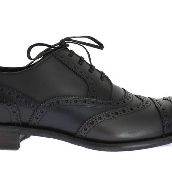 Black Blue Leather Oxford Wingtip Shoes