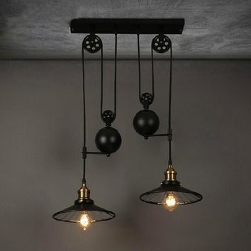 ART Lighting. Industrial, Loft, Cottage Retro Wrought Iron Black Chandelier Adjustable Pulley Industrial Lamps E27 Edison Pendant 2Lamp Home Light Fixtures