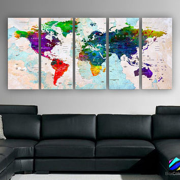 "XLARGE 30""x70"" 5 Panels 30""x14"" Ea Art Canvas Print Watercolor Multi Color Map World Push Pin Travel Wall decor (framed 1.5"" depth)M1807"