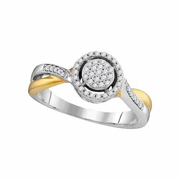 10kt Two-tone Gold Womens Round Diamond Circle Cluster Bridal Wedding Engagement Ring 1/5 Cttw