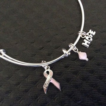 Survivor Pink Awareness Ribbon with Hope Charm Bracelet Adjustable Bangle Expandable Gift Breast Cancer (Other Awareness Ribbons Available)