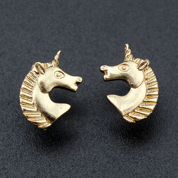 Gold Tone Unicorn Stud Earrings