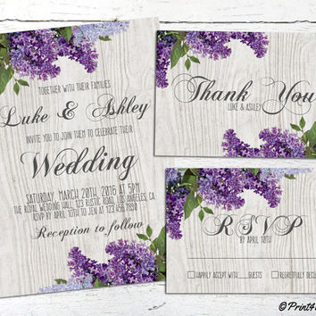 Spring Wedding Invite // Personalized Printable Lilacs On Grey Wood Rustic Wedding Suite // Lilac Wedding // Purple Wedding