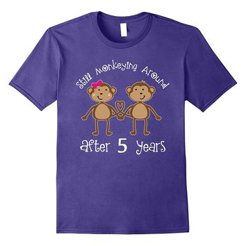 5th Wedding Anniversary Funny Monkey Couple T-shirt