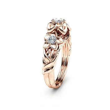 Three Stone Natural Diamonds Engagement Ring Inspired by Nature Branch Ring in 14K Rose Gold Flower Design Ring