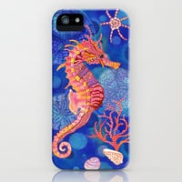 Seahorse in the Deep Blue iPhone Case by Janet Broxon | Society6