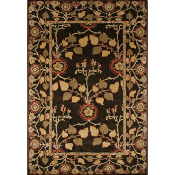 Jaipur Rugs Classic Arts And Crafts Pattern Brown/Yellow Wool Area Rug PM58 (Rectangle)