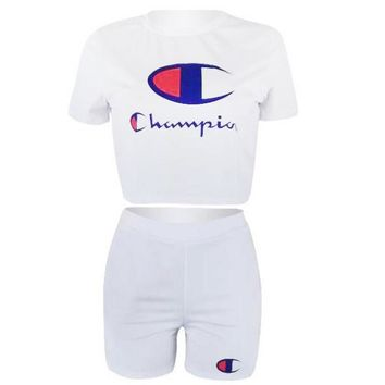 Champion Fashion Women Sexy Print Short Sleeve Sport Gym Sweatpants Set Two-Piece Sportswear White I13582-1