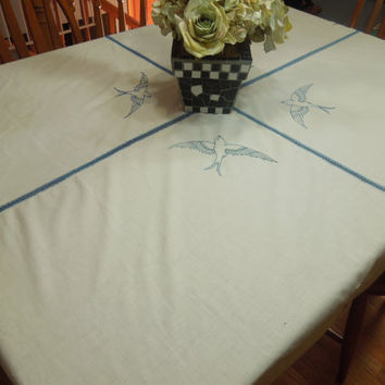 Vintage White Kitchen Dining Luncheon Tablecloth with blue embroidered flowers and blue hand crochet edging by MarlenesAttic