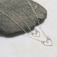 Heart Necklace, 925 Sterling Silver, Love Necklace, Wire Handcrafted Heart, Layered Necklace, Mother's Daughter's Necklace Set, Jewelry Set