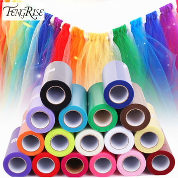 Tulle Roll 15cm 25 Yards Wedding Party Decoration DIY Tutu Fabric Decorative Crafts Christmas Frozen Halloween Kids Queen Skirts