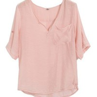 V Neckline Polyester Fiber Blouse with Front Pocket