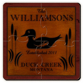 Personalize a Cabin Series Coaster Puzzle - Wood Duck