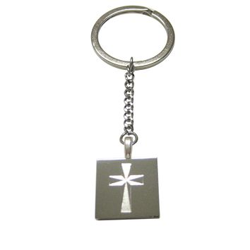 Silver Toned Etched Religious Cross Pendant Keychain