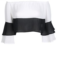 Sexy Backless Basic Tops Women Long Sleeve Off Shoulder Female Chiffon Tops Sweet Color Block Loose Blouses Shirts