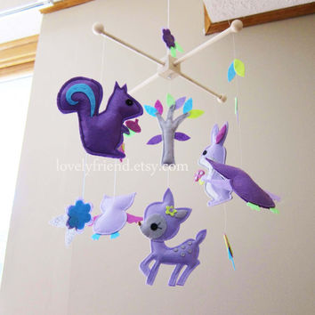 "Baby Crib Mobile - Baby Mobile - Wood Hanger Nursery Felt Mobile - ""See the animals in the purple dream"" (Pick your color)"
