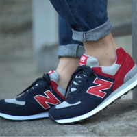 """New balance"" Leisure shoes running shoes men's shoes for women's shoes couples N word Dark blue red"