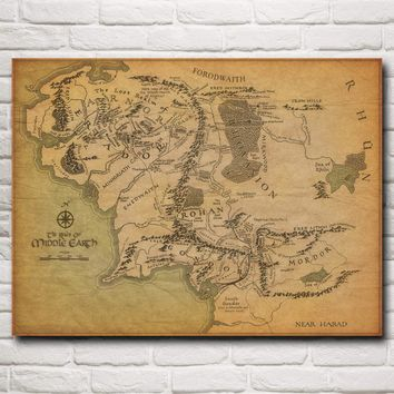 The Lord Of The Rings Maps Mid Movie Art Silk Fabric Poster prints Home Wall Decor Pictures 12x16 18X24 24x32 Inch Free Shipping