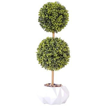 """22"""" Tall Topiary Artificial Indoor/ Outdoor Faux Décor in Ceramic Vase"""