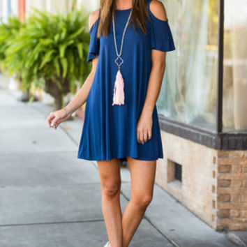 Here When You Need Me Dress, Navy