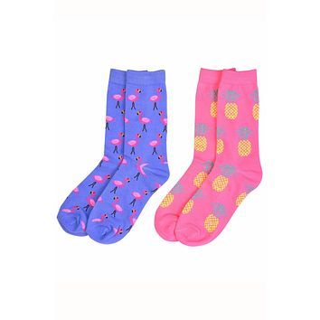 Sofra Flamingos & Pineapples Novelty Crew Socks 2-Pairs