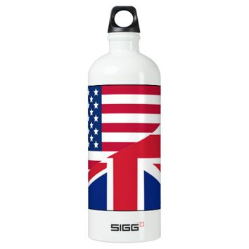 American and Union Jack Flag Water Bottle