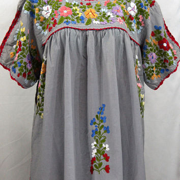"Mexican Blouse XXL: ""Lijera Libre"" by Siren in Grey with Multi-Color Embroidery"