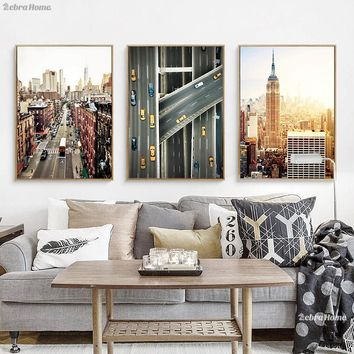 New York Watercolor Print Canvas Wall Art Poster Abstract City Skyline Cities Typography Picture Home Decor Watercolor Painting