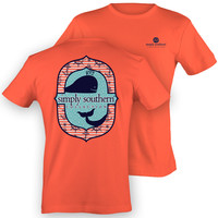 Simply Southern Preppy Whale Anchor Girlie Coral Bright T Shirt