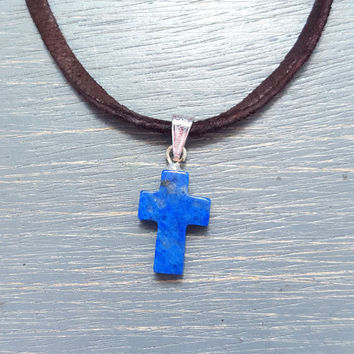 Gemstone Cross Necklace - Blue Lapis & Deerskin Lace