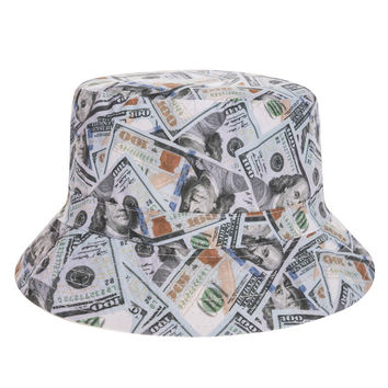 One Hundred Dollar Bill Collage $100 Adult Unisex Casual Summer Beach Flat Bucket Hat
