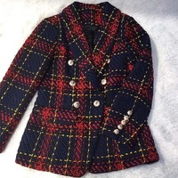 Winter Runway Designer Women Red Plaid Jacket Coat Double Breasted Lion Metal Buttons Tweed Outerwear Female Clothes