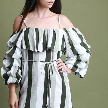 Cold Shoulder Statement Ruched Sleeves Shift Mini Dress