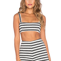 Cropped Top in Stripe Jacquard