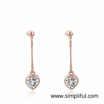 Rose gold plated crystal bead hanging Earring