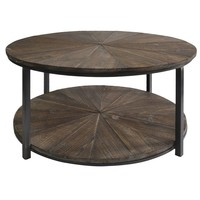 Jackson Round Metal & Rustic Wood Cocktail Table