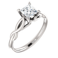 14kt White Gold Princess Solitaire Forever Brilliant Moissanite Engagement Ring