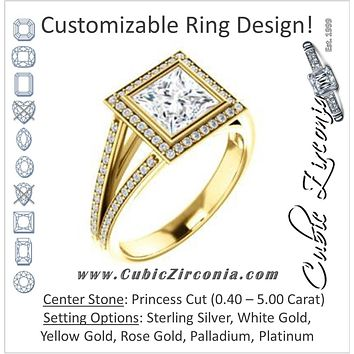 Cubic Zirconia Engagement Ring- The Kay Adaira (Customizable Bezel-set Princess Cut with Halo and Split-Pavé Band)
