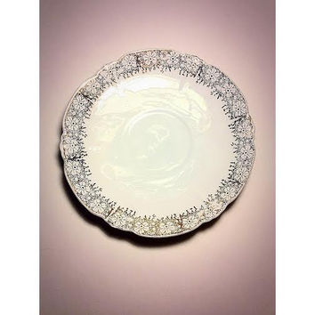 Salad Plate, Lehmann and Sons, Porcelain Plate, Fine China, 22k Gold, Leuchtenburg Germany, Serving Dish, Porzellanfabrik