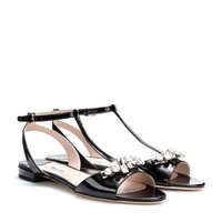 CRYSTAL-EMBELLISHED PATENT-LEATHER SANDALS