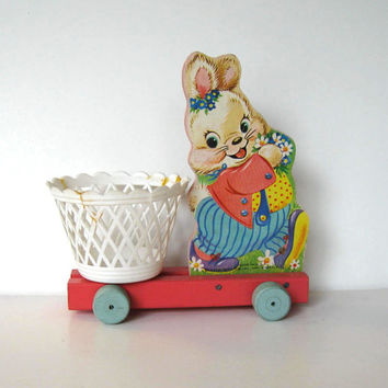 Vintage Fisher Price Wooden rolling Bunny basket, Toy, Kids, Easter Decor, gift idea