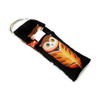 Owl Feather Chapstick Keychain - Brown Nature Lip Balm Holder Cozy