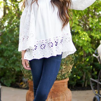 Floral Eyelet Tunic Top