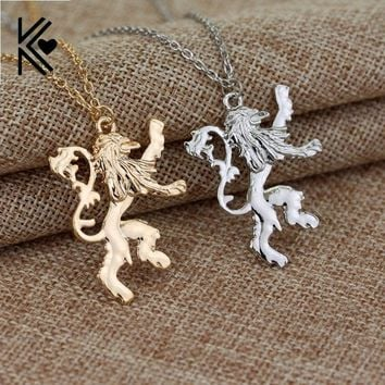 Game Of Thrones House Lannister Gold/Silver C Lion Chain Necklace Europe America Movie Women And Men Pendant Necklace