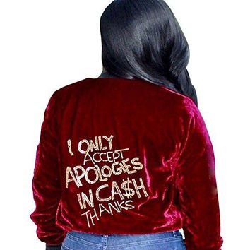 MS Mouse Womens Velvet Zip Up Blazer Suit Casual Bomber Jackets Coat Outwear