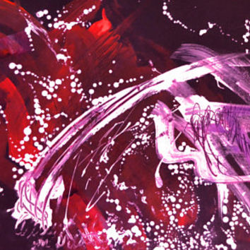"""Abstract """"Cherry Blossoms"""" Mystical Fine Art Print, Lush Pink, Purple, Red Painting, 10x20 Print"""
