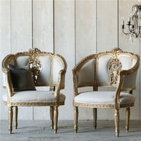 Eloquence One of a Kind Vintage Bergeres Louis XVI Canape Set of 2