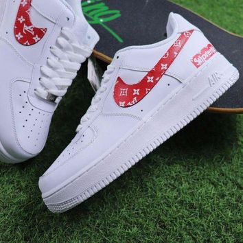 NOV9O2 Supreme x LOUIS VUITTON LV x Nike Air Force 1 White Red Sport Shoes Sneaker